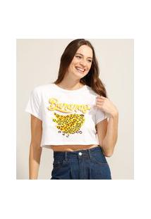 """Camiseta Cropped De Algodão """"Bananas"""" Animal Print Onça Manga Curta Decote Redondo Off White"""