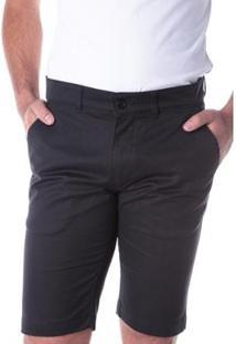 Bermuda Traymon Sarja Chino Slim Masculina - Masculino-Preto