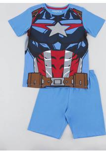 Pijama Infantil Capitão América Manga Curta Azul