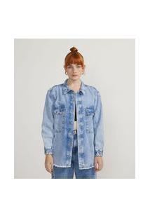 Camisa Jeans Marmorizada Com Bolsos E Punho Elástico   Blue Steel   Azul   G
