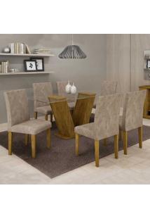 Conjunto De Mesa Com 6 Cadeiras Classic Suede Ypê E Bege