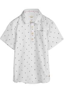 Camisa Milon Menino Tubarão Branca