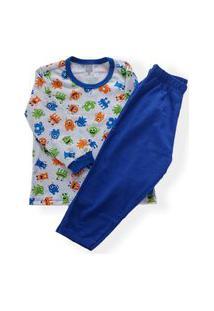 Pijama Bebê Malha Camiseta Manga Longa Monstrinho 1 A 4 Anos