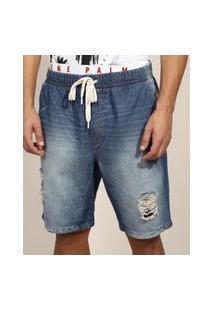 Bermuda Jeans Masculina Slim Destroyed Com Cordão Azul Médio