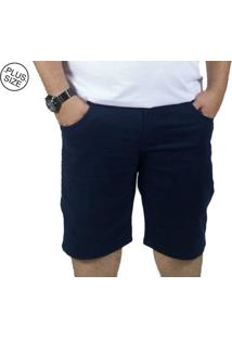 Bermuda Plus Size Sarja Bigshirts Azul Marinho