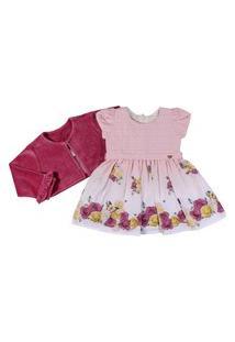 Vestido Infantil Estampado Flores Com Bordado - Anjos Baby Chic Vinho