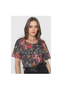 Camiseta Lança Perfume Floral Preta/Laranja