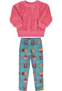 Conjunto Up Baby Blusão Em Pêlo E Calça Flanelada Rosa Roxo