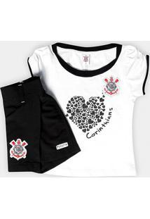 Conjunto Corinthians Infantil Baby Look E Short-Saia - Feminino