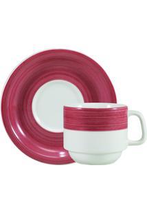 Xicara Chá C/ Pires Porcelana Schmidt - Dec. Cilíndrica Pintura À Mão Vermelho