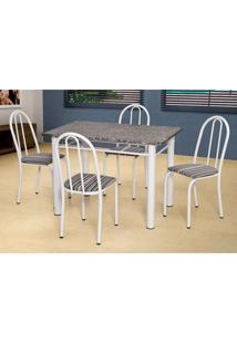 Conjunto De Mesa Com 4 Cadeiras Sara Branco E Preto Listrado