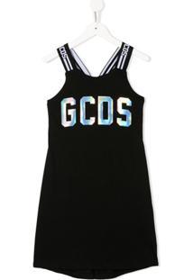 Gcds Kids Vestido Sem Mangas Com Estampa De Logo - Preto