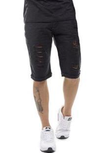 Bermuda Jeans Destroyed Slim Fit Masculina - Masculino-Preto