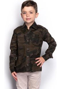 Camisa Social Infantil Menino Camuflada Manga Longa Casual - Kanui