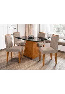 Conjunto De Mesa De Jantar Com Tampo De Vidro Jasmin E 4 Cadeiras Ana Ii Animalle Preto E Cinza