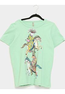 Camiseta Colcci Básica Estampada Feminina - Feminino-Verde