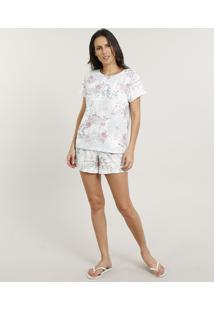 Pijama Feminino Estampado Floral Manga Curta Off White