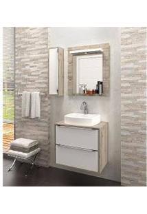 Gabinete Para Banheiro Suspenso Com Espelheira Nicho E Cuba Ravena 60Cm Branco Supremo/Cabernet