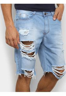 Bermuda Jeans Ecxo Destroyed Masculina - Masculino-Azul
