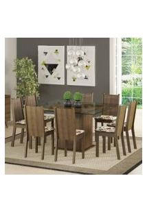 Conjunto Sala De Jantar Madesa Camila Mesa Tampo De Vidro Com 8 Cadeiras Rustic/Floral Hibiscos