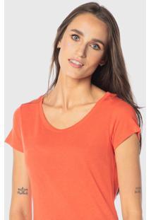 Camiseta Cora Decote Redondo Podrinha Em Linho Laranja