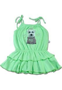 Vestido Infantil Malha Botonê Rustic Fresh Neon Cachorrinho - Verde 2