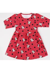 Vestido Infantil Minnie Estampado De Poá Manga Longa Vermelho