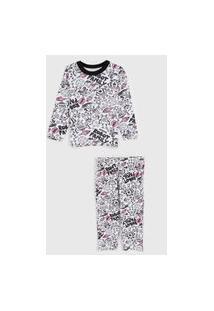 Pijama Marisol Longo Infantil Foguete Branco/Rosa
