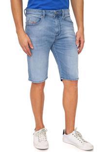 Bermuda Jeans Diesel Reta Estonada Azul