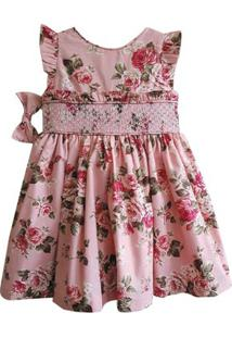 Vestido Infantil - Casinha De Abelha - Floral - 100% Algodão - Rosa - Turma Mixirica - 1 Vestido Infantil - Casinha De Abelha - Floral - 100% Algodão