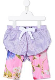 Natasha Zinko Kids Short-Calça Com Estampa Floral - Roxo
