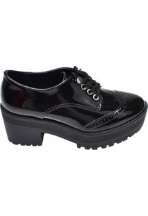 Sapato Feminino Solado Tratorado Via Marte Preto