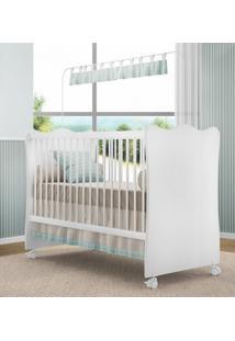 Berço C/ Rodízios Doce Sonho P/ Jogo De Quarto Infantil Bebê - Branco/Branco (Cod 102)