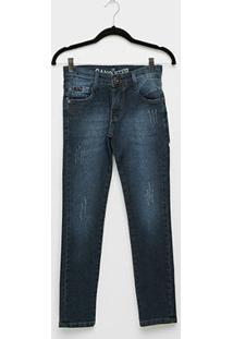 Calça Jeans Infantil Gangster Estonada Masculina - Masculino-Jeans