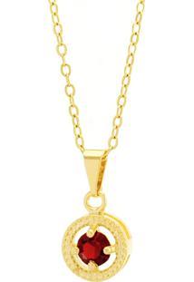 Gargantilha Horus Import Ponto Luz Medal Vermelho Rubi Banhada Ouro 18 K 1061144