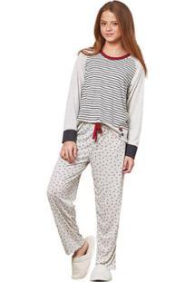 3a2635bd697fbf Pijama Infantil Longo Luna Cuore Feminino - Feminino-Branco+Preto