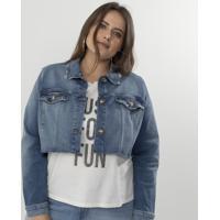 982a4366e1240 Jaqueta Jeans Cropped Curve   Plus Size