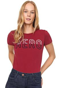 Camiseta Aeropostale Bordada Vinho - Vinho - Feminino - Algodã£O - Dafiti