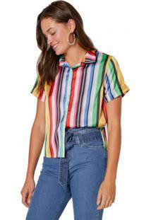 Amaro Feminino Camisa Manga Curta Acetinada, Rainbow Carnaval