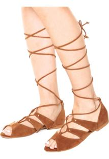 Rasteira Dafiti Shoes Gladiadora Tachas Caramelo