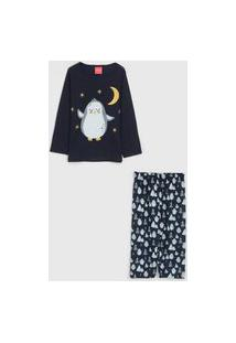Pijama Tricae Longo Infantil Pinguim Azul-Marinho