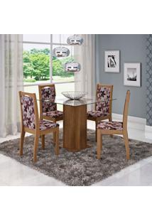 Conjunto De Mesa De Jantar Sophia Com 4 Cadeiras Lívia Linho Savana E Floral Bordô