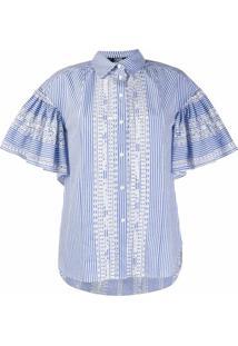 Karl Lagerfeld Camisa Com Bordado E Listras - Azul
