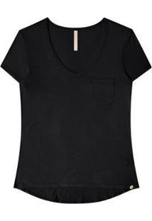 Camiseta Manga Curta Básica Feminina Bolso - Feminino-Preto