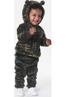 Conjunto Peluciado Bebê Menino Com Jaqueta
