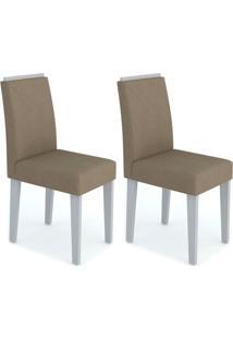 Conjunto Com 2 Cadeiras Amanda Off White E Marrom