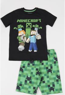 Pijama Infantil Minecraft Manga Curta Gola Careca Preto