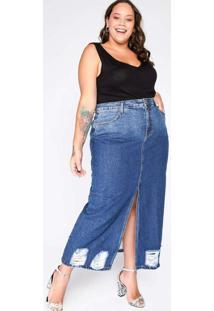 Saia Almaria Plus Size Blubetty Jeans Longa Azul