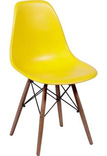 Cadeira Eames Dkr- Amarela & Madeira Escura- 80,5X46Or Design