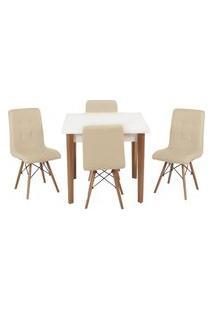 Conjunto Mesa De Jantar Luiza 80Cm Branca Com 4 Cadeiras Gomos - Nude
